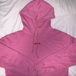 Cropped pink Levi's hoodie